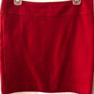 Red light wool skirt, side gold zipper